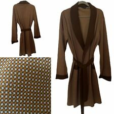 """Vintage St Michael? Brown Dogtooth Dressing Gown  Robe Chest 42"""" Mens Poly Nylon"""