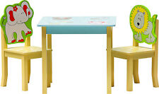 Kids Table and Chairs 2 1 or 4 1 Wooden Set Furniture for Toddlers Children Safari