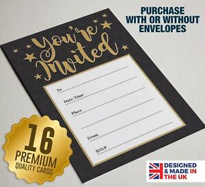 'You're Invited' Black / Gold Party Invitations - 16 A6 Invite Cards for Parties