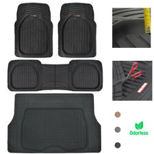 Motor Trend Car Floor Mats w/ Cargo Trunk Rubber Protection Full Set Heavy Duty
