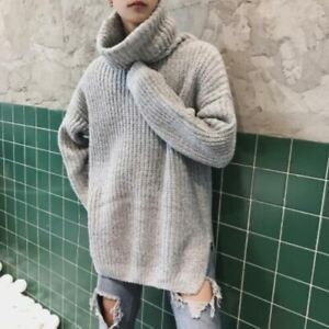 Mens Thicken Loose Cashmere Tops High Neck Knitted Sweaters Pullover Winter