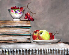 Old Books and bowl  grapes and apples still life original 8x10 painting
