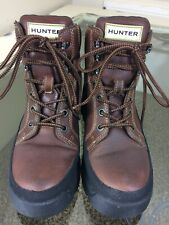 HUNTER Women's Balmoral Field Lace Up Boots Waxed TanWs 7