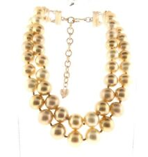 """Vintage Carolee Signed Gold Tone Large Pearl Necklace Double Strand 14.5-17"""""""