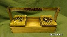 1814M Vtg Tiger Oak Oriental Tote Box w/Handle 2 Inlaid Wood Lids Fingerjoint