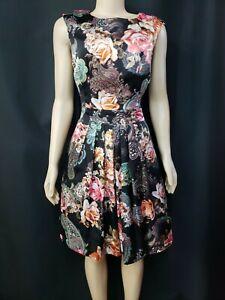 Boston Proper Black Polyester Paisley Floral Sz 10 Pleated Womens Dress NEW #CB5