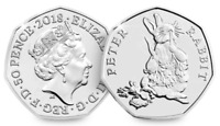 NEW BRILLIANT Uncirculated 50p pence Peter Rabbit 2018 Beatrix Potter coin RARE