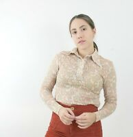 70s Peach Lace Paisley Blouse Vintage Long Sleeve Beige Sheer Collared Fitted