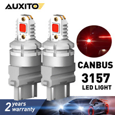 2X AUXITO 3157 3057 4157 LED Red Stop Brake Light Bulb CANBUS Error Free 2800LM