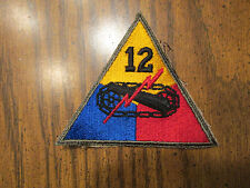 US Army 12th Armored Division Patch Quartermaster stock 1945 dated no glow