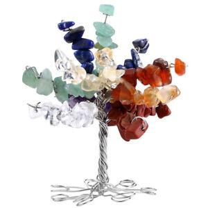 7cm Handmade 7 Chakra crystal gemstone Quartz Tree Healing Reiki Feng Shui Decor
