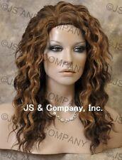 HEAT SAFE HUMAN HAIR Blend Long Wavy Layered Aburn Mix Wig WBPL 27/4/30