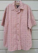 Royal Robbins Rust Plaid SS Organic Cotton Recycled Poly Pucker Shirt Men's L