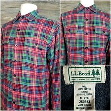 LL Bean Mens Medium Long Sleeve Button Front Plaid Fleece Lined Flannel Shirt