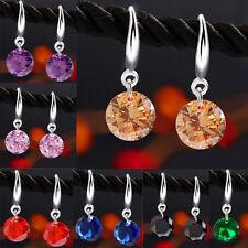 Crystal Drop Silver Hook Earrings Womens Girls Bridal Rhinestone Party Xmas Prom