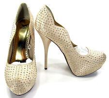 """Shiekh Shoes Rhinestone Studed Wavy 5.5"""" Stiletto Platform Heels Gold Size 8.5"""