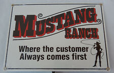MUSTANG RANCH Porcelain Metal Sign by Ande Rooney Dated 2005 * New Old Stock