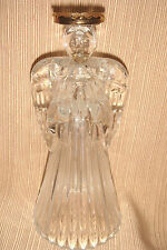 Large & Lovely LEAD CRYSTAL ANGEL w/GOLD HALO Candle Holder