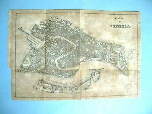 stampa antica MAPPA PIANTA CARTA TOPOGRAFICA CITTA DI VENEZIA  32X22 1879