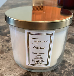 Mainstays 3-Wick Candle, Vanilla Buttercream Marshmallow Jar - 14 oz New