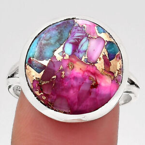 Natural Kingman Pink Dahlia Turquoise 925 Sterling Silver Ring s.10 Jewelry 5331