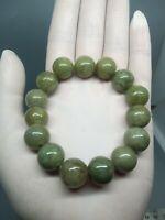 13.5mm Green Beads Bracelet 100%Authentic Real Natural A Burmese Jadeite Jade