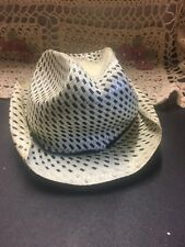 Vintage Child's Off White And Black Straw? Cowboy Hat