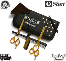 "Professional Barber Hairdressing Scissors Thinning & Hair Cutting Set 5.5"" Gold"