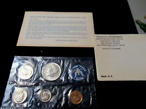 1965 US SMS Special Mint Set Coins, Brilliant Uncirculated, Orig. Cello Envelope