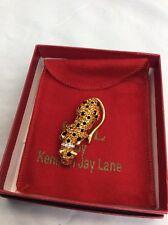 Vtg KJL Kenneth Jay Lane Amber Black Crystal Leopard gold tone pin brooch