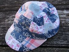 NWT Justice Girls Hat One Size Plaid Denim Patchwork Peach Blue Flowers