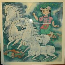 LARGE FRAMED ASIAN ART OF ASIAN LADY WITH HORSES
