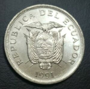 1991 ECUADOR 50 SUCRES KM 93 COAT of ARMS LARGE COIN 28mm XF+