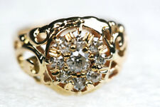 Antique Diamond Cluster 14K Gold Ring Cut Out Scroll Design Size 3 Retail $2,100