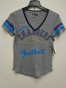 San Diego Chargers Womens G-III Rhinestone Bump and Run Tee Shirt 335