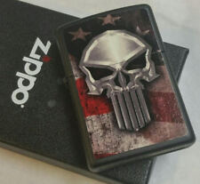 Zippo American Flag Punisher Skull Limited Edition New In Box Rare !