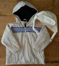 NEXT Boys Jacket Cream Over the Head & Fleece Lined Hat - Age 3 Years - <S1120