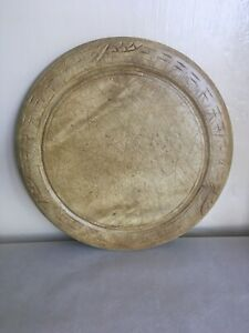 LARGE  DECORATIVE ANTIQUE CARVED SYCAMORE BREAD BOARD 11.8 inches