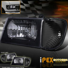 1992-2006 Ford Econoline Van E-Series Black Headlights W/ Corner Signal Lights