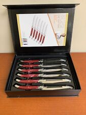 Wolfgang Puck 6 Piece Steak Knife Set With Cranberry Handle NIB