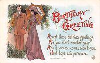 MAN IN SUIT~WOMAN ELEGANT DRESS & PARASOL~BIRTHDAY POEM~GREETING POSTCARD c1909