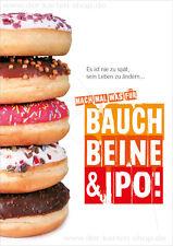 """A6 Postkarte Grußkarte lustige Karte Donuts Diät """"Mach was für Bauch, Beine, Po"""""""