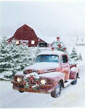 Red Truck Red Barn LED Picture Christmas Tree Snow Lighted Wall Canvas