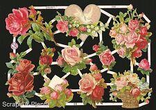 German Victorian Style Scrap Die Cut - Heart, Dove & Roses Valentine   EF7232