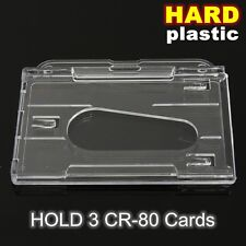 3 Card Multi Hard Plastic Horizontal Holder Transparent Clear Badge ID Cover
