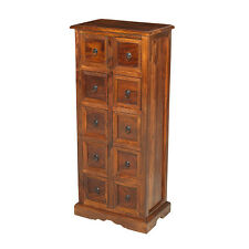 Jali Sheesham 10 Drawer CD Almirah Storage Unit Solid Wood Indian Furniture