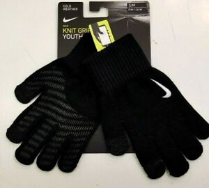 Nike Junior Boys Warm Winter Knit Grip Youth Gloves Touch Screen Compatible