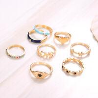 8 Pcs/set Vintage Evil Eye Love Heart Star Crystal Rings For Women Jewelry Gift
