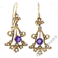 Antique Victorian 14K Yellow Gold 0.50ctw Amethyst & Pearl Hook Dangle Earrings