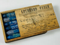 Antique Eberhard Faber BLUE Hexagon Lumber Crayons in Box NICE